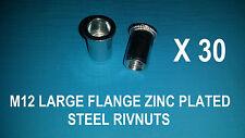 30X STEEL ZINC PLATED RIVNUTS M12 NUTSERT RIVET NUT LARGE FLANGE NUTSERTS RIVNUT