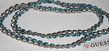 NWT Guess Silver Metal-Blue Reptile Strap Woven Link Long Necklace Strand