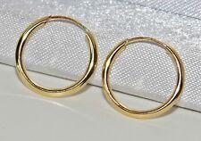 9 CT Oro Giallo Donna 12.5mm Sleeper Hoop Orecchini