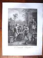 D'APRES DAVID TENIERS- L'ESTAMINETTE TRANQUILLE PAR -J TARDIEU (1716-1791 )