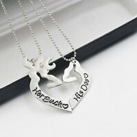 2pcs Deer Hunting Her Buck His Doe Necklaces Kissing Heart Shape Pendant Couples