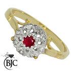 BJC 9kt oro giallo rubino e diamante grappolo taglia N fidanzamento abito anello