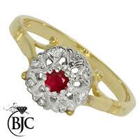 Bjc 9Ct Oro Amarillo Rubí y Diamante Tamaño N Compromiso Anillo de Vestir R7