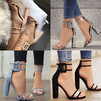 Women Ladies Clear Buckle Ankle Strap Mid High Block Heel Open Toe Sandals Shoes