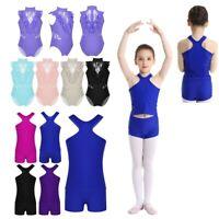 Kids Gymnastics Leotard Sleeveless Sports Outfits Girls Ballet Dancewear Costume