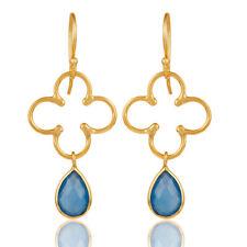 22k Gold Plated Handmade Blue Chalcedony Bazel Set Brass Drop Earrings