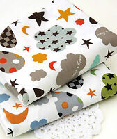 Cloud mix 100% Cotton Fabric BY HALF YARD grey brown clouds star moon  ffF150+