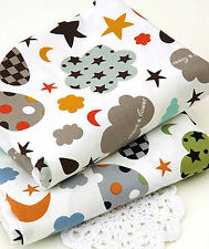 Cloud mix 100% Cotton Fabric BY HALF YARD grey brown clouds star moon  JC4/53+