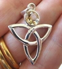Superb Sterling Silver and Yellow Citrine Celtic Knot Pendant