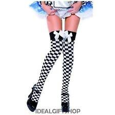 CHEQUERED BLACK AND WHITE WITH BOW STOCKINGS HALLOWEEN FANCY DRESS ONE SIZE CUTE