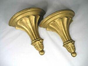 """Antique Brass Painted Metal Wall Shelves...Each: 7 1/4""""H x 7 3/8""""W  x  3""""Deep"""