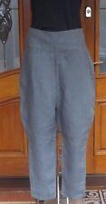 Women wear Sarah Pacini high waist 100 % Linen grey trousers size1 SP5299 BNWT