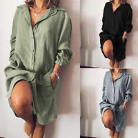 ZANZEA 8-24 Women Casual Long Sleeve Button Down Shirt Dress Kaftan Midi Dress
