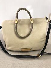 MARC by Marc Jacobs Convertible Satchel Beige/Black Italian Leather Bag