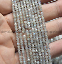 Faceted 2x3mm Light Gray Labradorite Abacus Gemstone Rondelle Loose Beads 15.5""