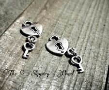 Heart Lock Charms Lock and Key Set Steampunk Supplies Key to My Heart Silver 6pc