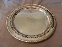Vintage International Silver Co. Round Serving Platter Lattice & Scroll (M)