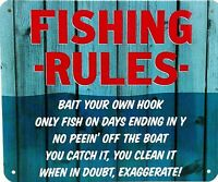 """FISHING RULES - Small Home Decor Metal Plaque Sign  - 7"""" X 6"""""""