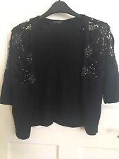 Topshop Women's size 8 short sleeve stud black cardigan 100% cotton
