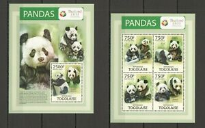 TG721 2013 TOGO FAUNA ANIMALS PANDAS BEARS THAILAND KB+BL MNH
