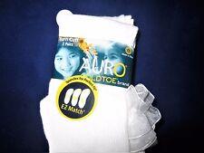 Auro Gold Toe Girls Socks - White Lace RuffleTrim - Size L Dressy 2 Pair