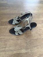 Bottega Veneta Strappy Shoes Sandals Heels Beige Gold 39 6