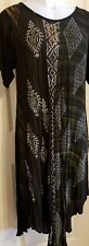 Women's black dress one size fit scalloped hem with sleeves