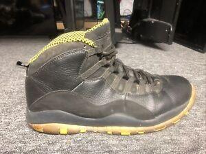 Men's Size 11.5 Nike Air Jordan Retro 10 Black/Venom Green Sneakers 310805-033
