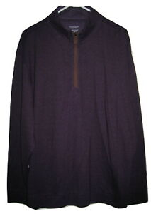 NWT Roundtree & Yorke Purple 1/4 ZIP PULLOVER SWEATER MENS SHIRT XL