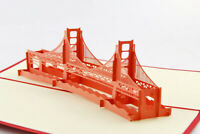 Golden gate Bridge Building 3D Pop up Gift Cards Famous Creative Greeting card