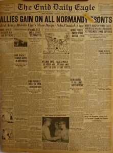 1944 Vintage Newspaper Allies Gain on Normandy Front Rommel Red Army WWII Hitler