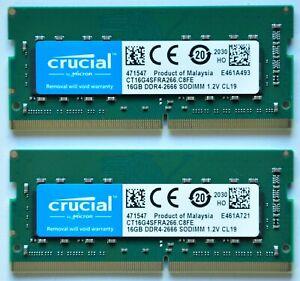 32GB 2x16GB RAM Crucial DDR4 SO-DIMM 2666MHz PC4-21300 CL19 1.2V Kit Laptop/Mac
