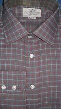 Harvie & Hudson 18.5/36 Algodón Cepillado Carbón/Burdeos Comprobar Camisa Brazalete de una sola