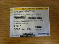 25/08/2003 Ticket: Oxford United v Swansea City  . Thanks for viewing this item