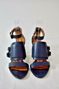 GIVENCHY Dark Blue Leather Women's Open Toe Shoes Size 35 Or 5M On Sale ap