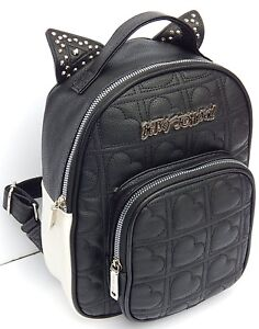 BETSEY JOHNSON KITSCH BLACK/CREAM  STUDDED EARS QUILTED BACKPACK AUTHENTIC NEW