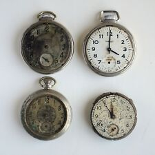 Lot Of 4 Vintage 2 Ingraham pocket watch For parts Or Repair AS IS
