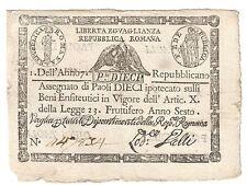 PONTIFICIO REPUBBLICA ROMANA ASSEGNATI 10 PAOLI 1798 ANNO 7° rombo bb LOTTO 1570