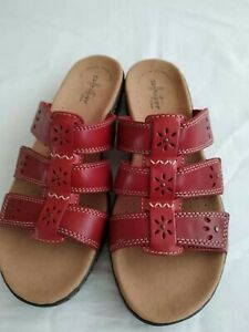 Clarks womens leisa leather sandals mule size 5.5 red bnwt