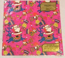 Vtg Christmas Wrapping Paper Gift Wrap Santa Angels Pink Laurel 2 Sheets New