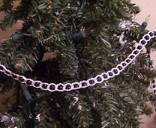 Crochet White-Silver on Black Beaded Christmas Garland 18'