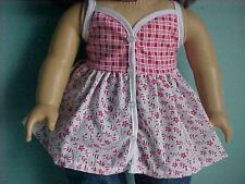 Red Flowers & Red Plaid Babydoll Top with Buttons fits American Girl