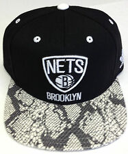 28e0e4df3b7c1 NBA Brooklyn Nets Adidas Snakeskin Look Strap Back Hat Cap NEW