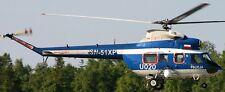 Kania Poland Police PZL-Swidnik Helicopter Kiln Dry Wood Model Replica Large New