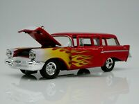 1957 Chevrolet Wagon 1/64 Scale Diecast Diorama Car Rare Red Real Riders Flames