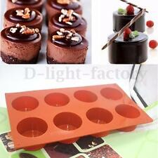 DIY  8 Round Silicone Cookie Baking Mold Handmade Soap Moulds Biscuit Pan Tray