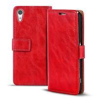Handy Tasche Hülle Sony Xperia XA1 Case Klapphülle PU Leder Wallet Cover Rot