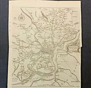 RARE 1777 Antique Map Of Philadelphia by N. SCULL & G. HEAP Gentleman's Magazine