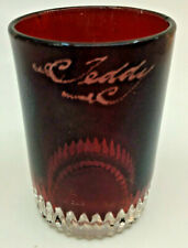 Ruby Red Flash Glass Souvenir Antique Tumbler C. Teddy EAPG Pressed Glass Stain