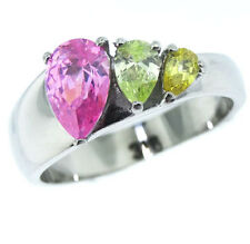 Three Pear Shape Color CZ Pink Citrine Topaz Silver SS Ladies Ring Size 10